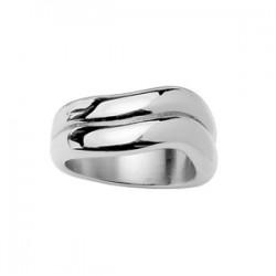 Bague acier  2 anneaux ondulés